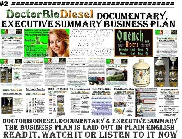 Dr.BioDiesel Documentary & Executive Summary Business Plan