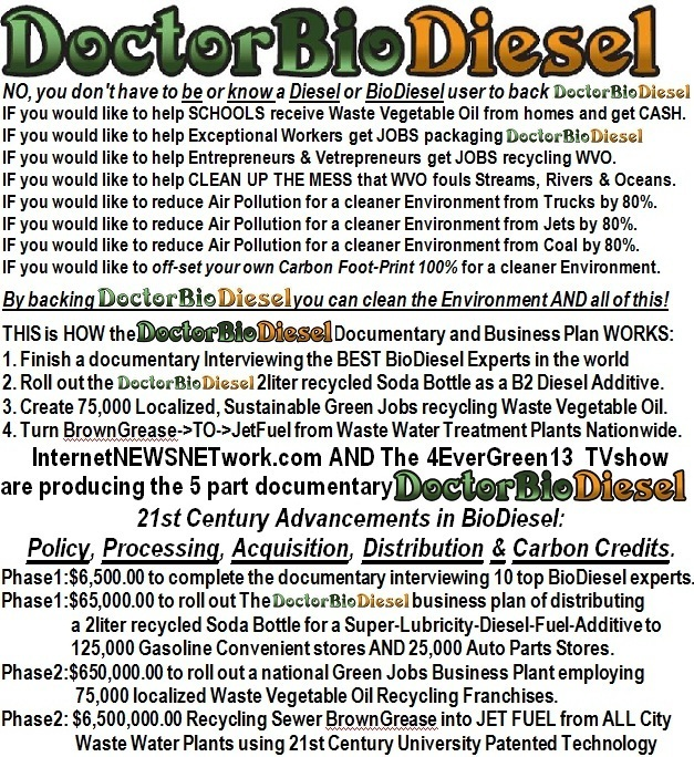 DoctorBioDiesel No, you don't have to be or know a Diesel or BioDiesel. Policy, Processing, Acquisition, Distribution and Carbon Credits